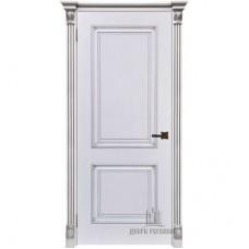 Дверь RegiDoors Итало (Багет 32) ДГ Эмаль Белая с патиной серебро