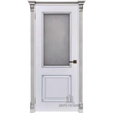 Дверь RegiDoors Итало (Багет 32) ДО Эмаль Белая с патиной серебро