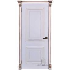 Дверь RegiDoors Итало (Багет 30) ДГ Эмаль Белая с патиной капучино