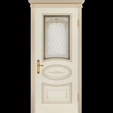 Дверь BP-DOORS Ария Грейс B4  ДО2 Эмаль Слоновая кость патина золото