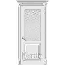 Дверь эмаль Demfa Блюз ДО Белый со стеклом Кристалл