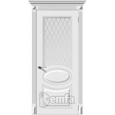 Дверь эмаль Demfa Джаз ДО Белый со стеклом Кристалл