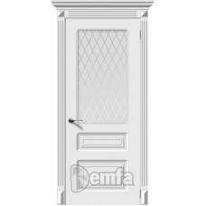 Дверь эмаль Demfa Трио ДО Белый со стеклом Кристалл