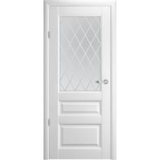Дверь Verda ALBERO Эрмитаж 2 ДО Белый со стеклом Мателюкс Ромб