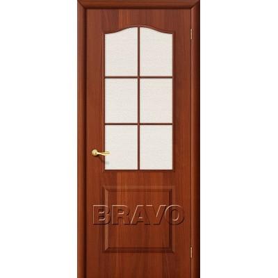 Дверь ламинированная BRAVO Палитра ДО Л-11 Итальянский орех со стеклом Хрусталик