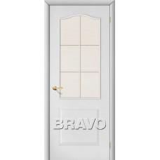 Дверь ламинированная BRAVO Палитра ДО Л-23 Белый со стеклом Хрусталик