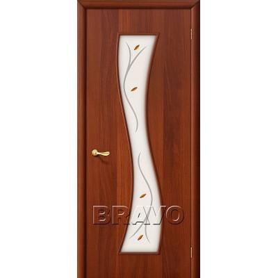 Дверь ламинированная BRAVO 11Ф ДО Л-11 Итальянский орех со стеклом художественным