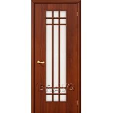 Дверь ламинированная BRAVO 16C ДО Л-11 Итальянский орех со стеклом Сатинато