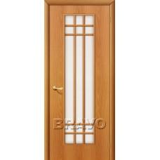 Дверь ламинированная BRAVO 16C ДО Л-12 Миланский орех со стеклом Сатинато