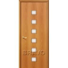 Дверь ламинированная BRAVO 1C ДО Л-12 Миланский орех со стеклом Сатинато