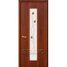 Дверь ламинированная BRAVO 22Х ДО Л-11 Итальянский орех со стеклом художественным
