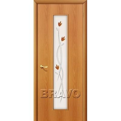 Дверь ламинированная BRAVO 22Х ДО Л-12 Миланский орех со стеклом художественным