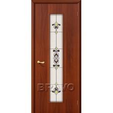 Дверь ламинированная BRAVO 23Х ДО Л-11 Итальянский орех со стеклом художественным