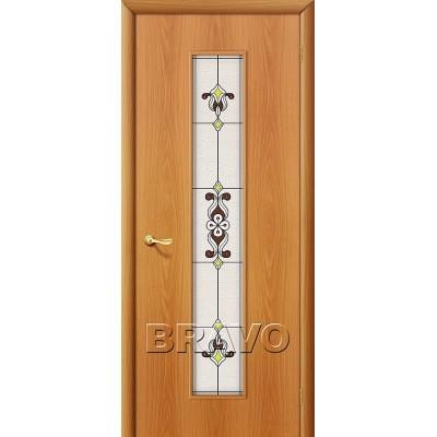 Дверь ламинированная BRAVO 23Х ДО Л-12 Миланский орех со стеклом художественным