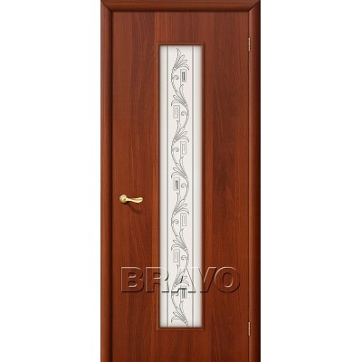 Дверь ламинированная BRAVO 24Х ДО Л-11 Итальянский орех со стеклом художественным