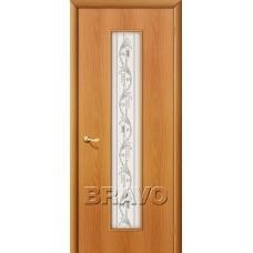 Дверь ламинированная BRAVO 24Х ДО Л-12 Миланский орех со стеклом художественным