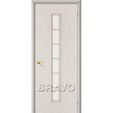 Дверь ламинированная BRAVO 2C ДО Л-21 Беленый дуб со стеклом Сатинато