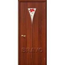 Дверь ламинированная BRAVO 3П ДО Л-11 Итальянский орех со стеклом Полимер