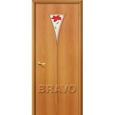 Дверь ламинированная BRAVO 3П ДО Л-12 Миланский орех со стеклом Полимер