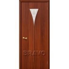 Дверь ламинированная BRAVO 3Х ДО Л-11 Итальянский орех со стеклом художественным