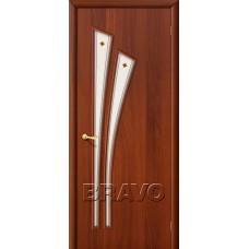 Дверь ламинированная BRAVO 4Ф ДО Л-11 Итальянский орех со стеклом художественным