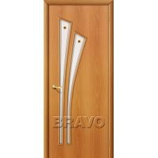 Дверь ламинированная BRAVO 4Ф ДО Л-12 Миланский орех со стеклом художественным