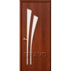 Дверь ламинированная BRAVO 4C ДО Л-11 Итальянский орех со стеклом Сатинато