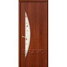 Дверь ламинированная BRAVO 5П ДО Л-11 Итальянский орех со стеклом Полимер
