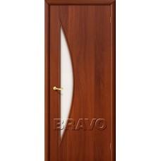 Дверь ламинированная BRAVO 5C ДО Л-11 Итальянский орех со стеклом Сатинато