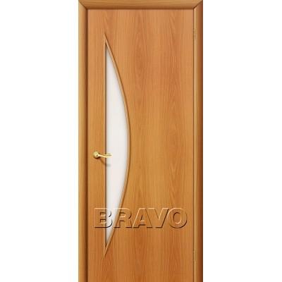Дверь ламинированная BRAVO 5C ДО Л-12 Миланский орех со стеклом Сатинато