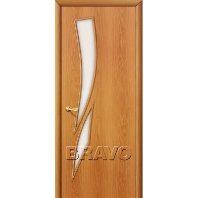 Дверь ламинированная BRAVO 8C ДО Л-12 Миланский орех со стеклом Сатинато