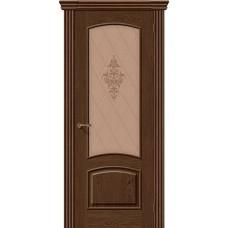 Дверь шпонированная BRAVO Амальфи ДО Т-32 Виски со стеклом художественным