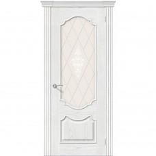 Дверь шпонированная BRAVO Париж ДО Т-23 Жемчуг со стеклом художественным