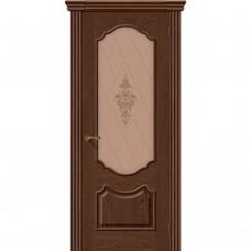 Дверь шпонированная BRAVO Париж ДО Т-32 Виски со стеклом художественным