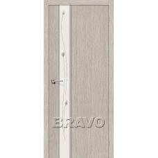 Дверь BRAVO Глейс-1 ДО 3D Cappuccino с зеркалом Sprig