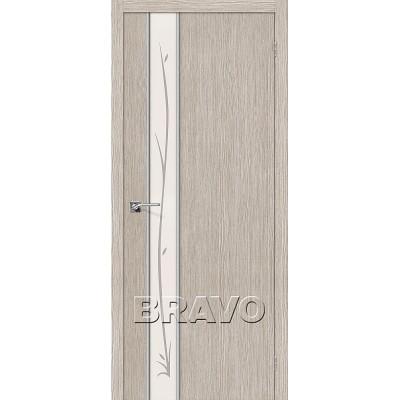 Дверь BRAVO Глейс-1 ДО 3D Cappuccino с зеркалом Twig