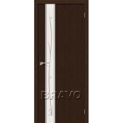 Дверь BRAVO Глейс-1 ДО 3D Wenge с зеркалом Twig
