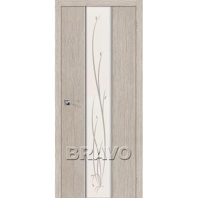 Дверь BRAVO Глейс-2 ДО 3D Cappuccino с зеркалом Twig
