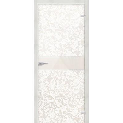 Дверь стеклянная BRAVO Флори белое