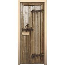 Дверь стеклянная BRAVO Дерево в комплекте с коробкой, деревянной ручкой, петлями