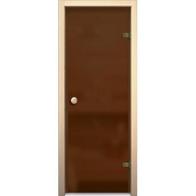 Дверь стеклянная BRAVO Кноб Е Бронза Сатинато в комплекте с коробкой, деревянной ручкой, петлями
