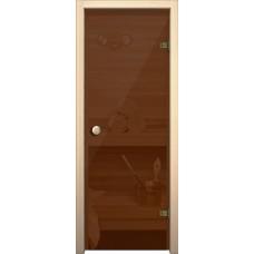 Дверь стеклянная BRAVO Кноб Е Бронза тонированное в комплекте с коробкой, деревянной ручкой, петлями