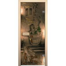 Дверь стеклянная BRAVO Парилка в комплекте с коробкой, деревянной ручкой, петлями