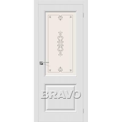 Дверь BRAVO Скинни-13 ДО П-23 Белый со стеклом художественным
