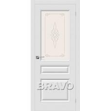 Дверь BRAVO Скинни-15 ДО П-23 Белый со стеклом художественным