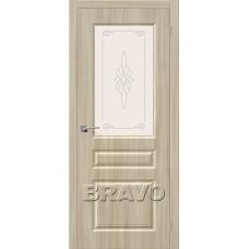Дверь BRAVO Скинни-15 ДО П-34 Шимо Светлый со стеклом художественным