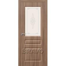 Дверь BRAVO Скинни-15 ДО П-35 Шимо Темный со стеклом художественным