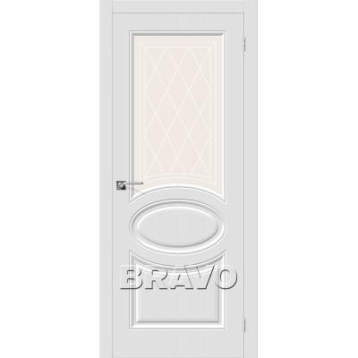 Дверь BRAVO Скинни-21 ДО П-23 Белый со стеклом художественным