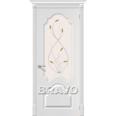Дверь BRAVO Скинни-33 ДО П-24 Белый со стеклом Орхидея