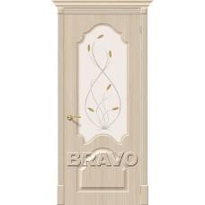 Дверь BRAVO Скинни-33 ДО П-30 Беленый дуб со стеклом Орхидея